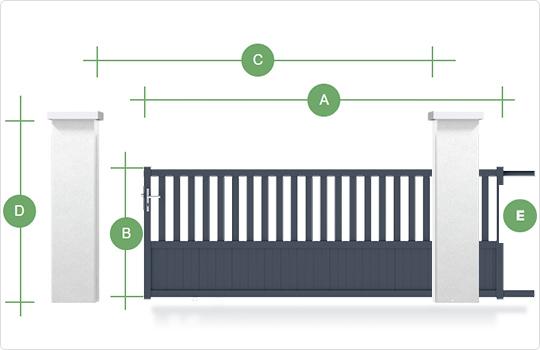 Schéma type de prise de cote portail coulissant gamme Classic