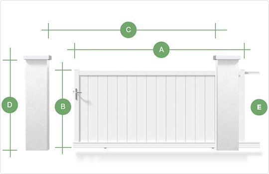 Schéma type de prise de cote portail coulissant gamme Littoral